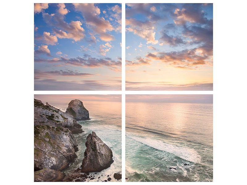 Acrylglasbild 4-teilig Romantischer Sonnenuntergang am Meer