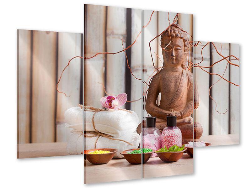 Acrylglasbild 4-teilig Buddha + Wellness