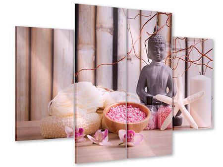 Acrylglasbild 4-teilig Spa + Buddha