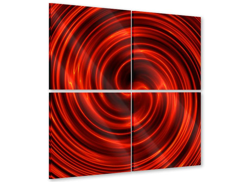 Acrylglasbild 4-teilig Abstrakte Rote Wirbel
