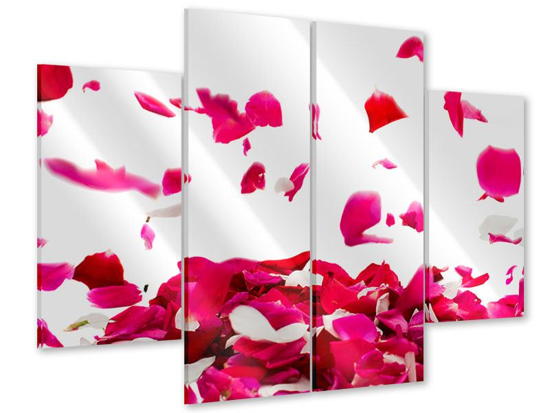 Acrylglasbild 4-teilig Für mich soll`s rote Rosen regnen