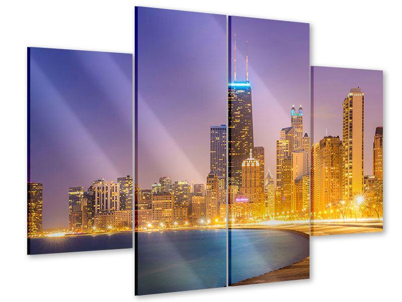 Acrylglasbild 4-teilig Skyline Chicago in der Nacht