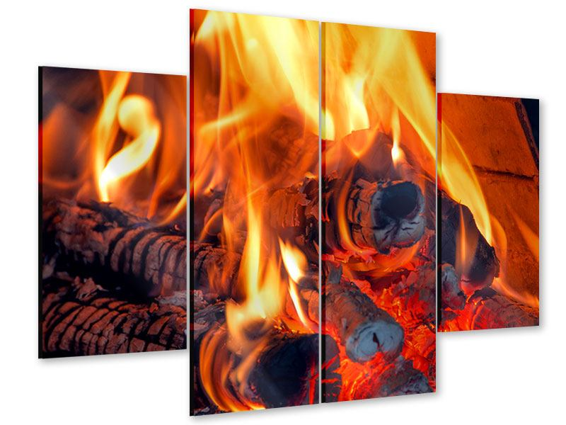 Acrylglasbild 4-teilig Lagerfeuer