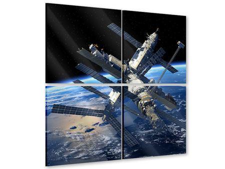 Acrylglasbild 4-teilig Raumstation