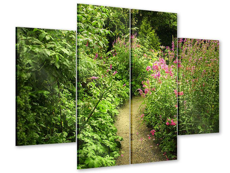 Acrylglasbild 4-teilig Gartenweg