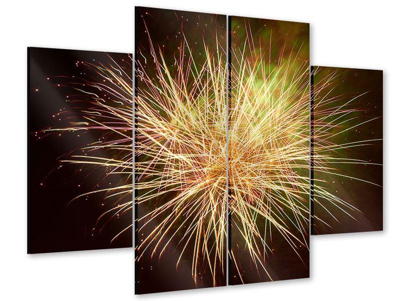 Acrylglasbild 4-teilig Feuerwerk XXL