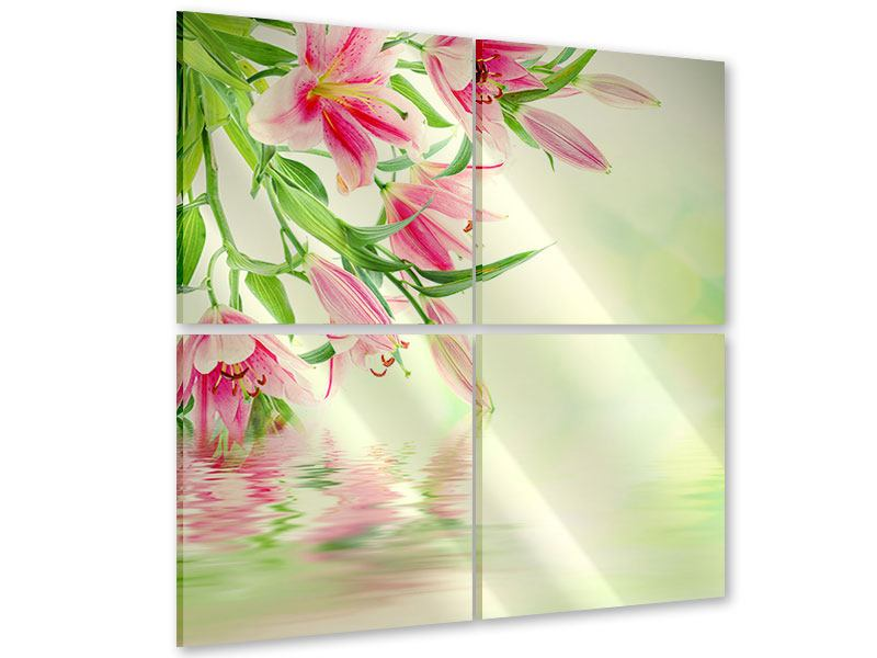 Acrylglasbild 4-teilig Lilien am Wasser