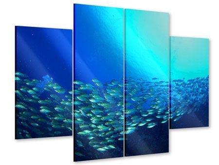Acrylglasbild 4-teilig Fischschwarm