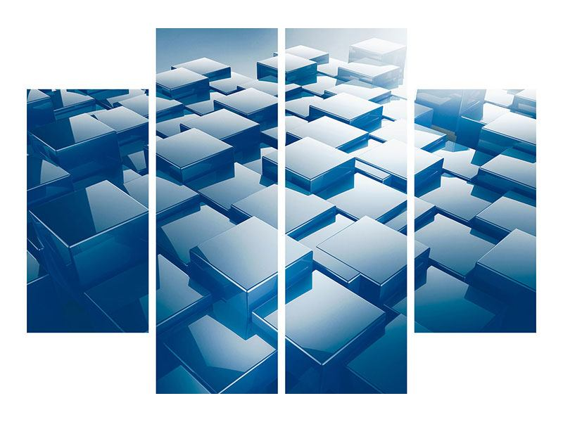 Acrylglasbild 4-teilig 3D-Cubes