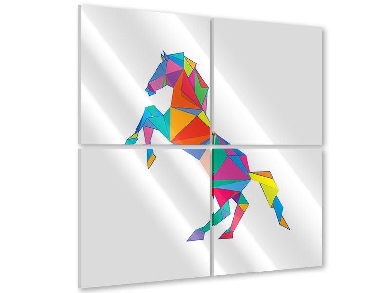 Acrylglasbild 4-teilig Origami Pferd