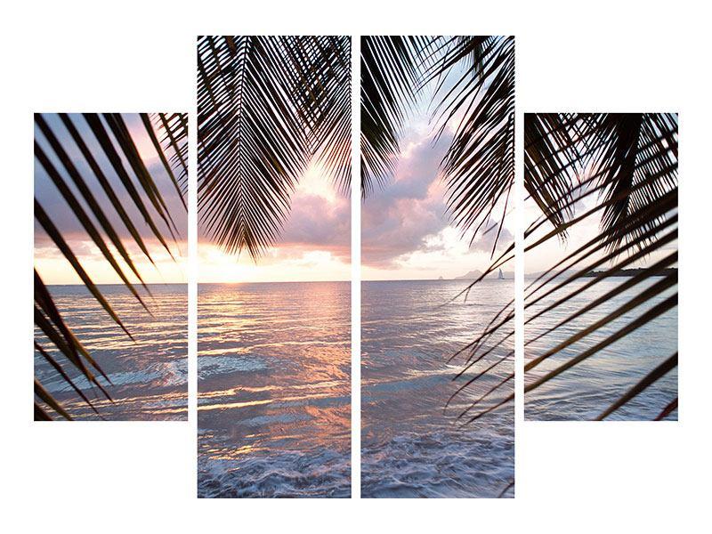 Acrylglasbild 4-teilig Unter Palmenblätter