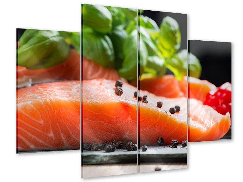 Acrylglasbild 4-teilig Frischer Fisch