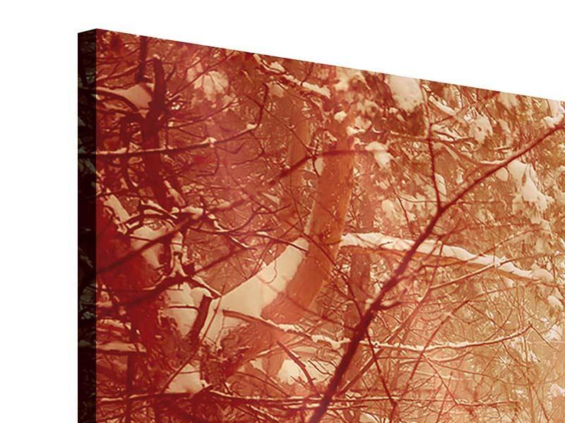 Acrylglasbild 4-teilig Schneewald