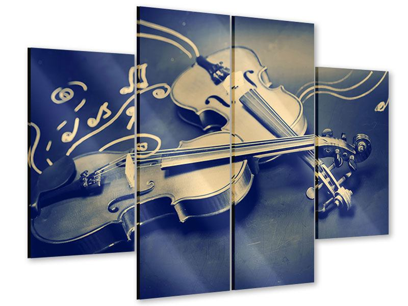Acrylglasbild 4-teilig Geigen