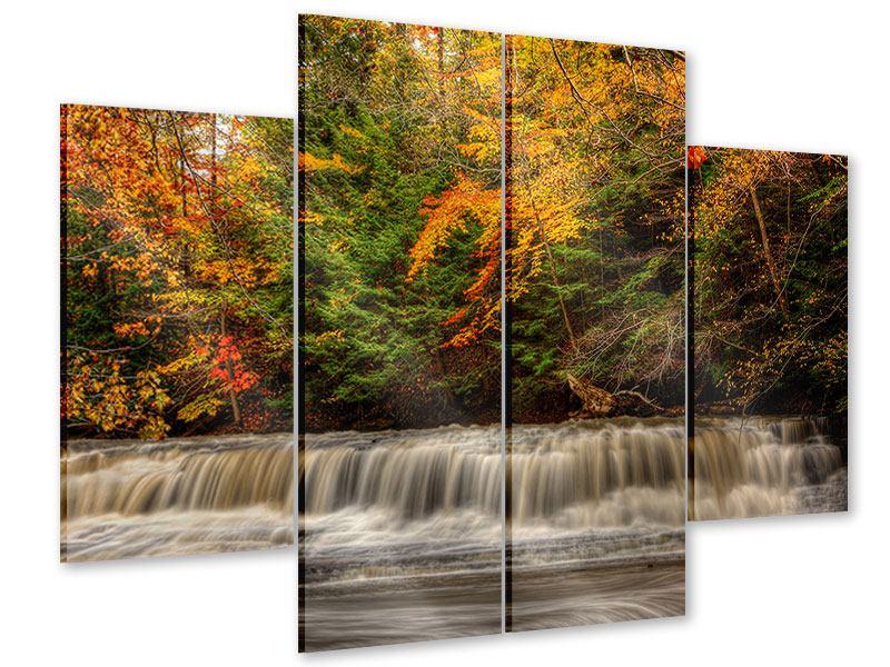 Acrylglasbild 4-teilig Herbst beim Wasserfall