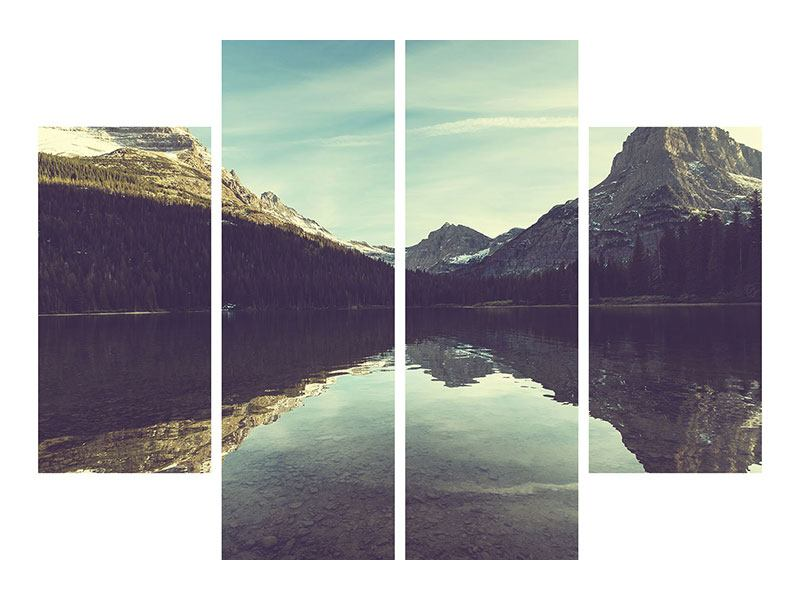 Acrylglasbild 4-teilig Spiegelung im Bergsee