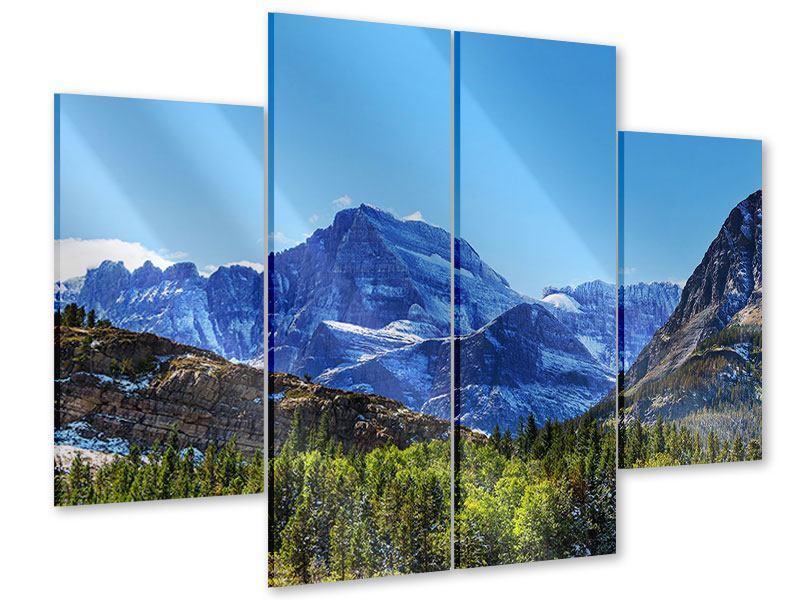 Acrylglasbild 4-teilig Dem Gipfel entgegen