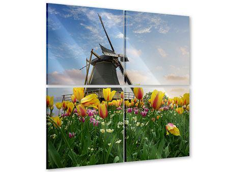 Acrylglasbild 4-teilig Die Windmühle mit den Tulpen