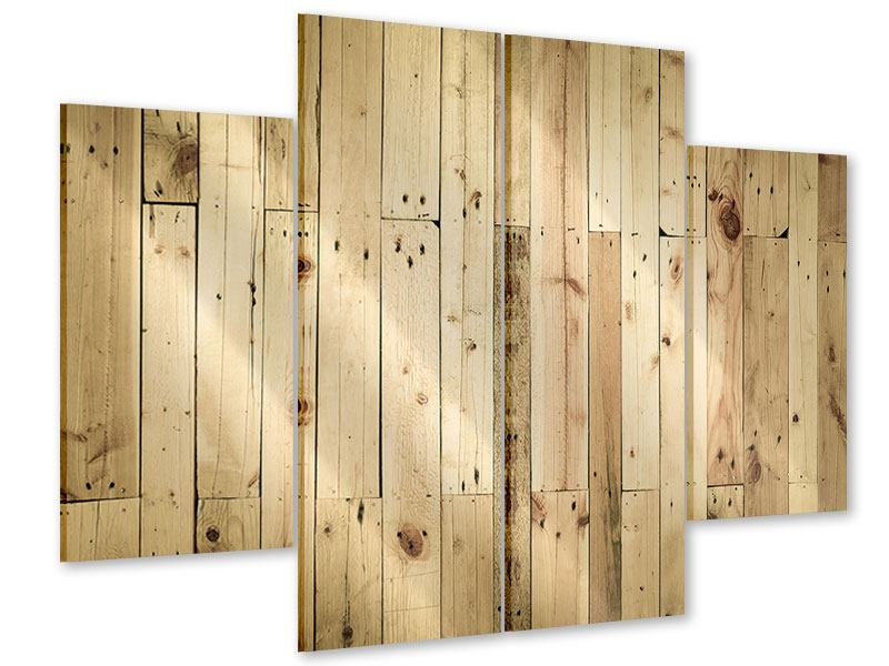 Acrylglasbild 4-teilig Holzpaneelen
