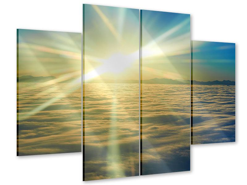 Acrylglasbild 4-teilig Sonnenaufgang über den Wolken