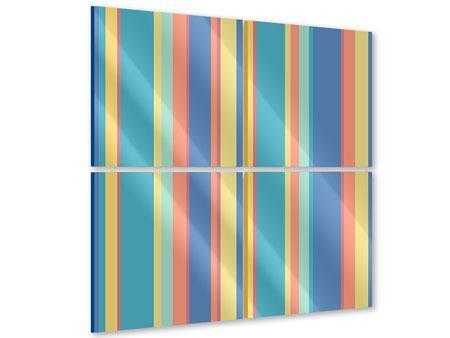 Acrylglasbild 4-teilig Längstreifen in Pastell