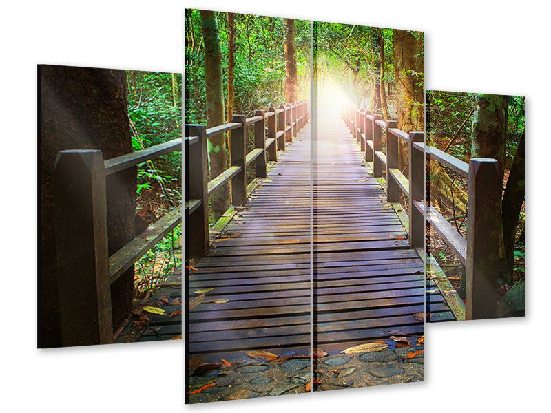 Acrylglasbild 4-teilig Die Brücke im Wald