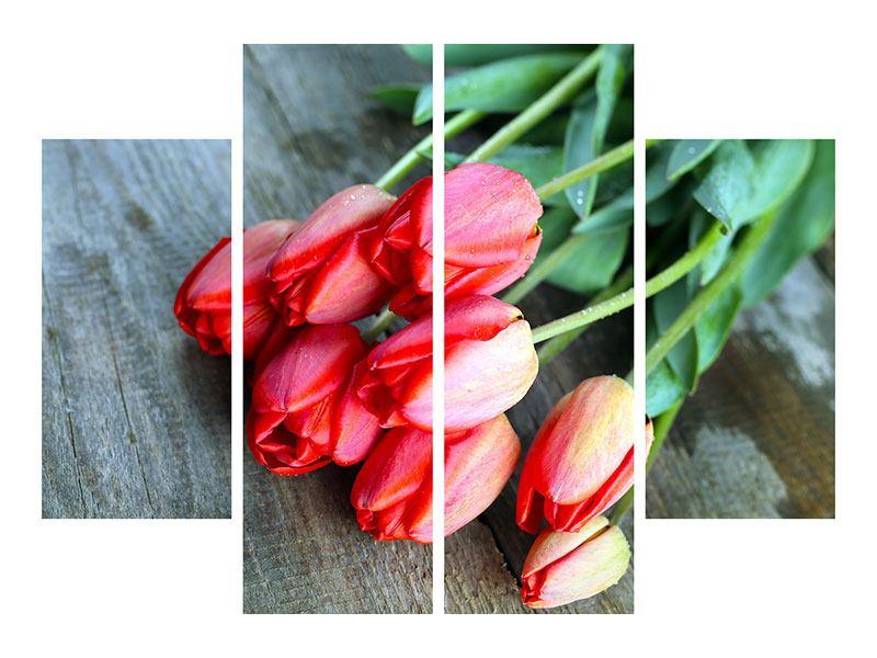 Acrylglasbild 4-teilig Der rote Tulpenstrauss