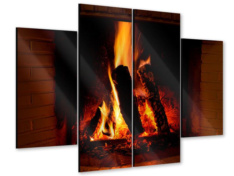 Acrylglasbild 4-teilig Feuer im Kamin