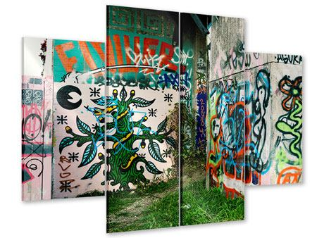 Acrylglasbild 4-teilig Graffiti im Hinterhof