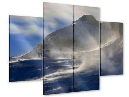 Acrylglasbild 4-teilig Mit Schneeverwehungen den Berg in Szene gesetzt