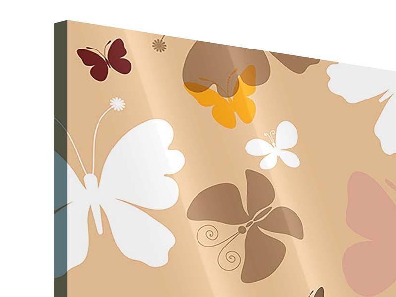Acrylglasbild 4-teilig Retrodesign Schmetterlinge