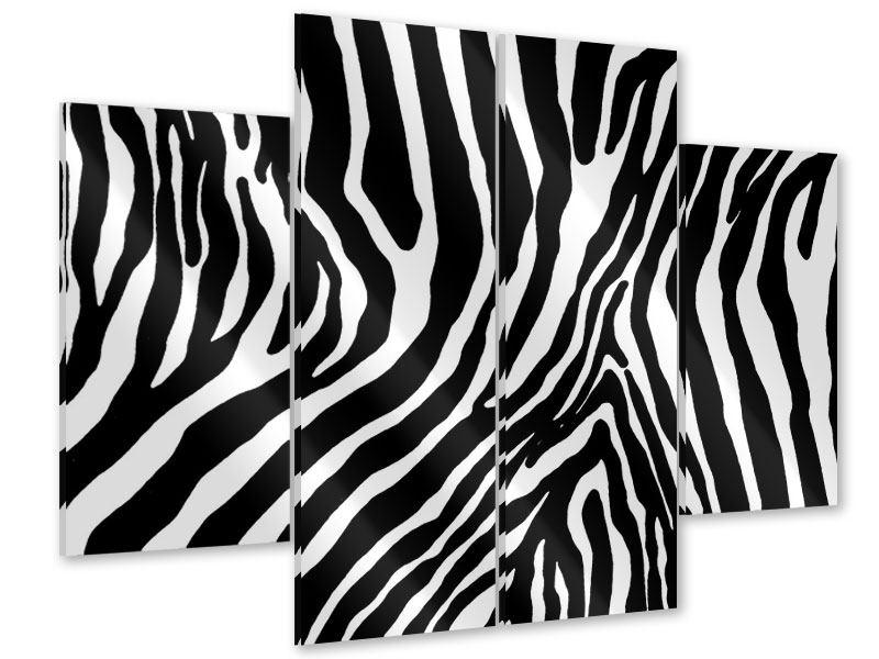 Acrylglasbild 4-teilig Zebramuster