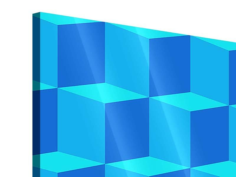 Acrylglasbild 4-teilig 3D-Würfel Türkis