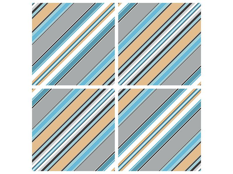 Acrylglasbild 4-teilig Farbstreifen