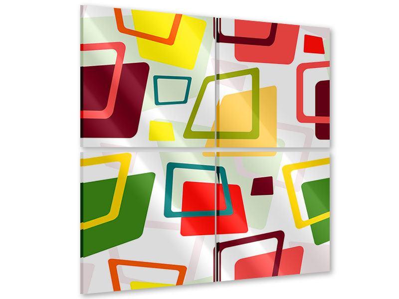 Acrylglasbild 4-teilig Rechtecke im Retrodesign