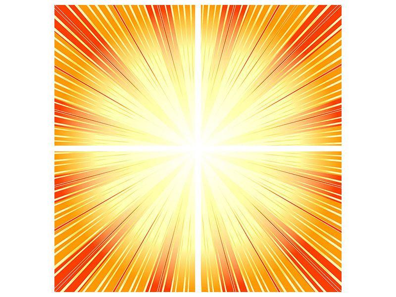 Acrylglasbild 4-teilig Abstrakte Retro Sonne