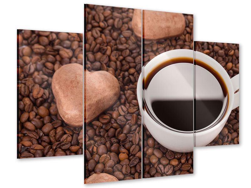 Acrylglasbild 4-teilig Pausenkaffee