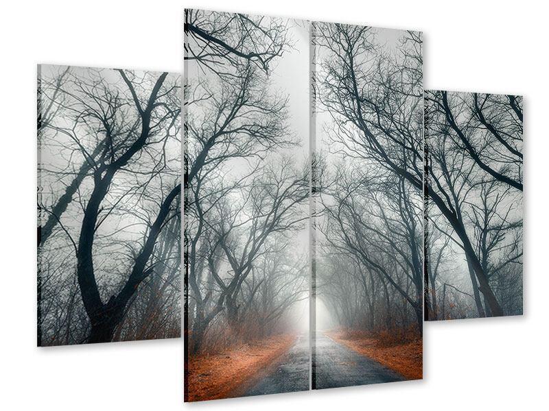 Acrylglasbild 4-teilig Mysteriöse Stimmung im Wald