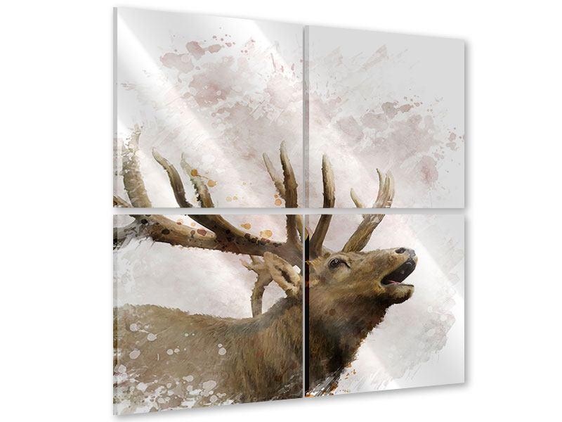 Acrylglasbild 4-teilig Elch-Gemälde