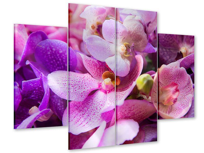 Acrylglasbild 4-teilig Im Orchideenparadies