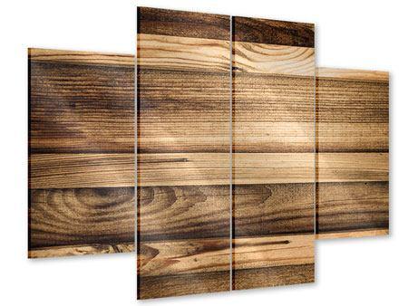 Acrylglasbild 4-teilig Holztrend