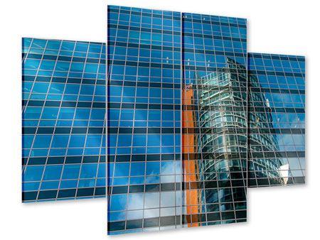 Acrylglasbild 4-teilig Wolkenkratzer-Spiegel