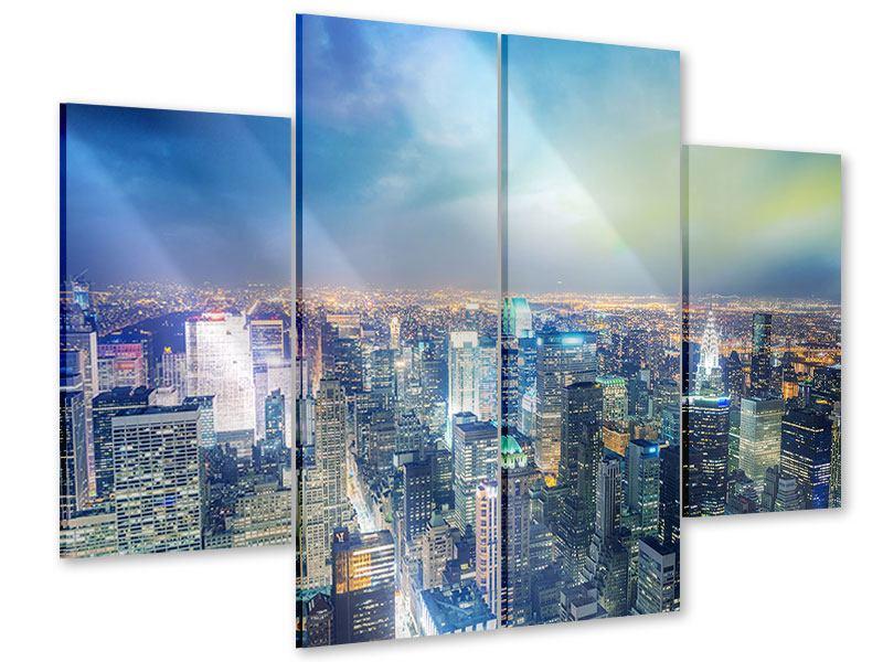 Acrylglasbild 4-teilig Skyline NY bei Sonnenuntergang