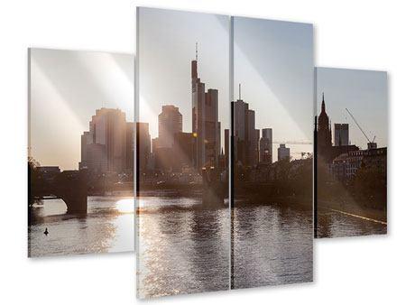 Acrylglasbild 4-teilig Skyline Sonnenaufgang bei Frankfurt am Main