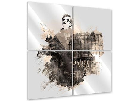 Acrylglasbild 4-teilig Pariser Modell