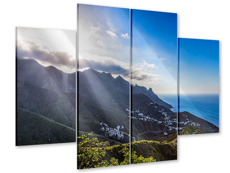 Acrylglasbild 4-teilig Der Frühling in den Bergen