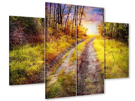 Acrylglasbild 4-teilig Der Waldpfad