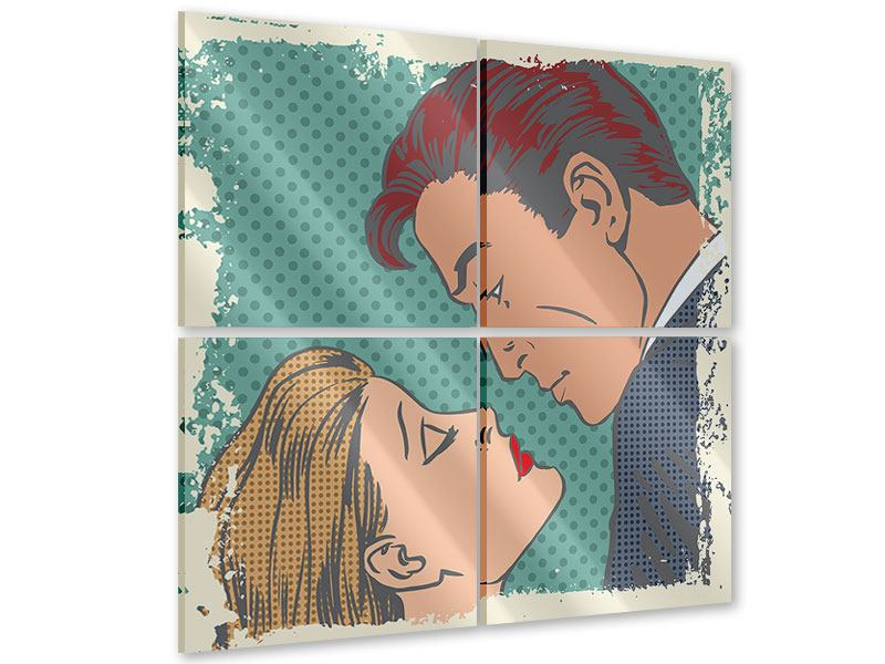 Acrylglasbild 4-teilig Pop Art Liebe