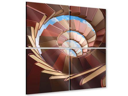 Acrylglasbild 4-teilig Abstrakte Bücher-Wendeltreppe