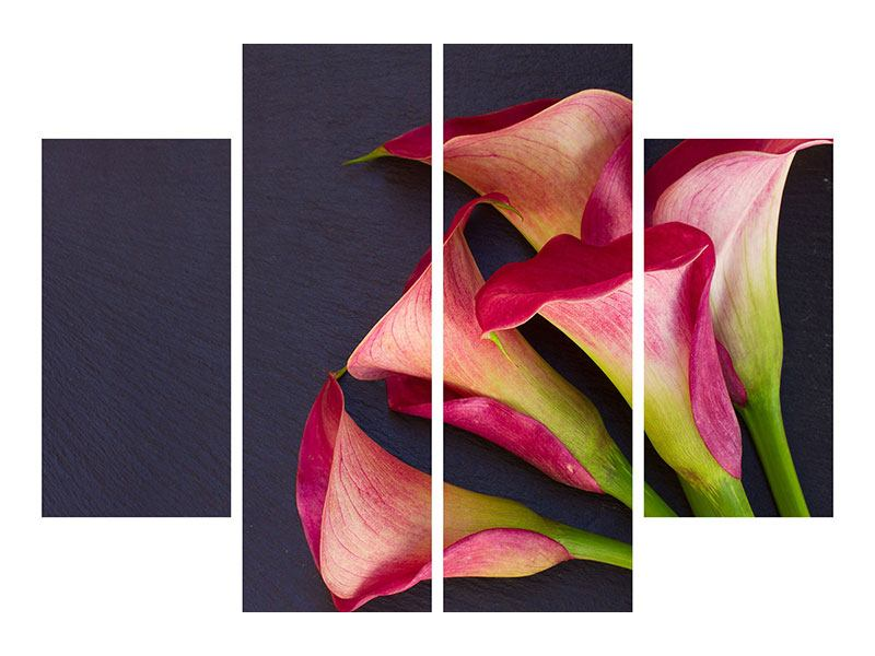 Acrylglasbild 4-teilig Callastrauss